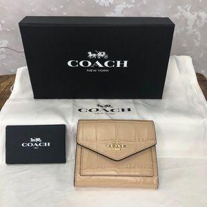 Coach Small Wallet Croc Embossed Beechwood NWOT